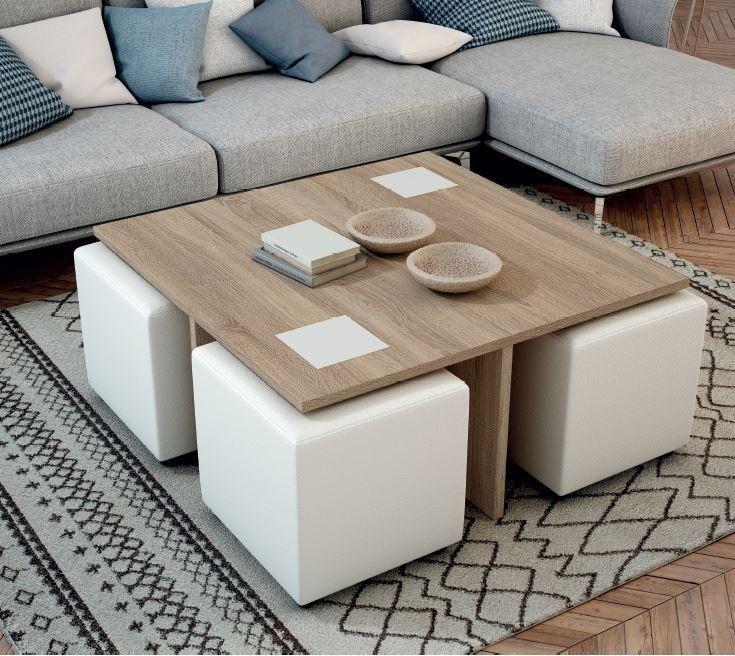 Mesas elevables con puff mesa centro cuadrada con puff - Mesa centro cuadrada ...