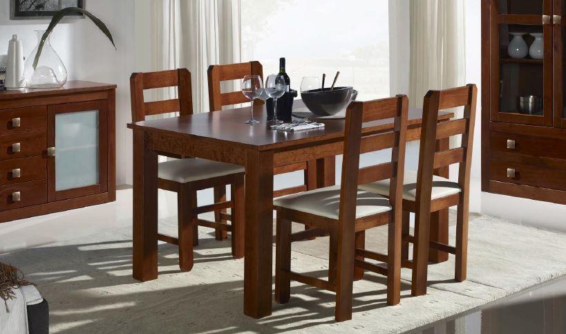 Pino Colonial : Mesa comedor + 4 sillas ,pino Macizo