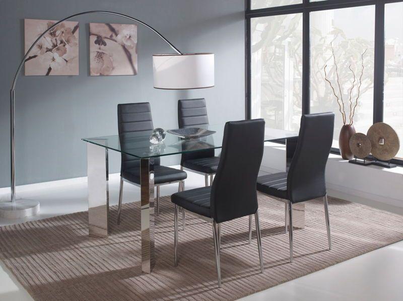 Mesa Comedor Fija Cristal + 4 sillas