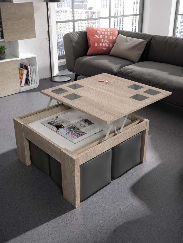 Mesas elevables con puff mesa elevable centro cuadrada 4 puff - Mesa de centro con puff ...